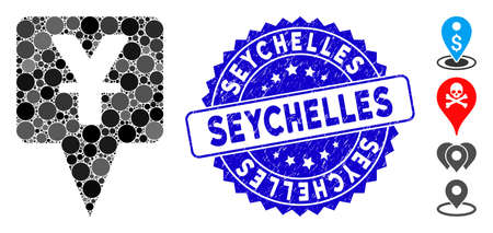 Mosaic yuan map pointer icon and rubber stamp seal with Seychelles text. Mosaic vector is created from yuan map pointer icon and with scattered spheric spots. Seychelles stamp uses blue color,