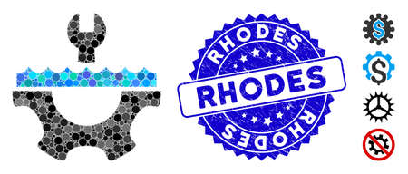 Mosaic water service gear icon and grunge stamp watermark with Rhodes phrase. Mosaic vector is formed from water service gear icon and with random round elements. Rhodes stamp seal uses blue color, Ilustrace