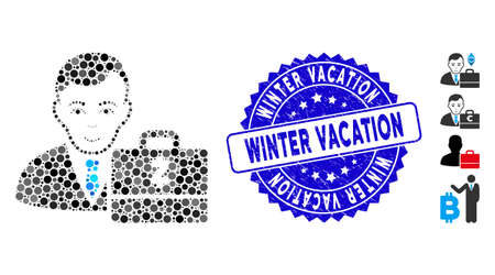 Mosaic Zcash accounter icon and grunge stamp seal with Winter Vacation text. Mosaic vector is designed from Zcash accounter pictogram and with scattered round items.