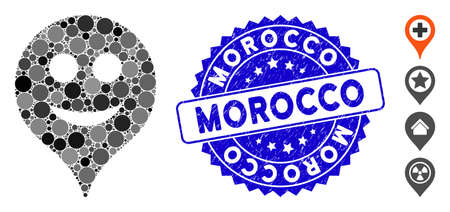 Collage smile map marker icon and corroded stamp seal with Morocco text. Mosaic vector is composed with smile map marker icon and with scattered round elements. Morocco stamp seal uses blue color,