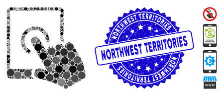 Collage tablet tap icon and rubber stamp seal with Northwest Territories text. Mosaic vector is created with tablet tap icon and with randomized round elements.