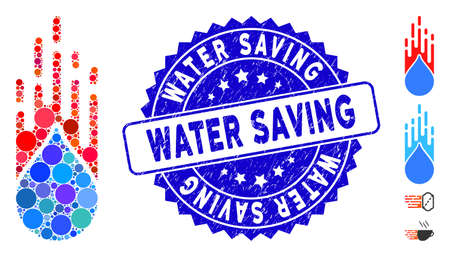 Mosaic rush drop icon and rubber stamp seal with Water Saving phrase. Mosaic vector is created from rush drop icon and with scattered spheric elements. Water Saving seal uses blue color,