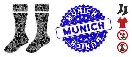 Mosaic socks icon and corroded stamp watermark with Munich caption. Mosaic vector is formed with socks pictogram and with random round elements. Munich stamp uses blue color, and grunge design. Illustration