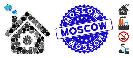 Mosaic smoking factory icon and grunge stamp seal with Moscow caption. Mosaic vector is formed with smoking factory icon and with scattered round spots. Moscow stamp seal uses blue color,