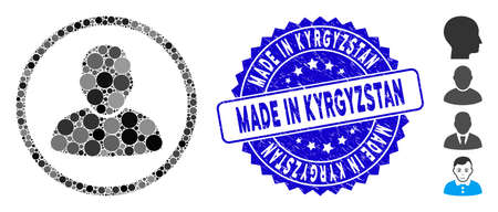 Mosaic rounded user icon and grunge stamp seal with Made in Kyrgyzstan caption. Mosaic vector is formed with rounded user icon and with random circle spots. Made in Kyrgyzstan stamp uses blue color, Ilustrace