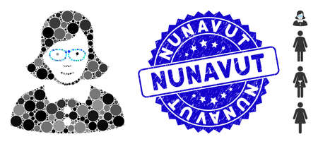 Mosaic teacher lady icon and rubber stamp seal with Nunavut text. Mosaic vector is created with teacher lady icon and with random circle spots. Nunavut seal uses blue color, and dirty design. Illustration