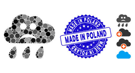 Mosaic sad rain cloud icon and grunge stamp seal with Made in Poland phrase. Mosaic vector is formed from sad rain cloud icon and with random round elements. Made in Poland stamp seal uses blue color, Ilustração Vetorial
