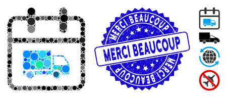 Mosaic shipping day icon and distressed stamp seal with Merci Beaucoup text. Mosaic vector is created with shipping day icon and with randomized circle elements.