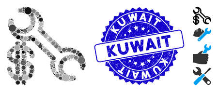 Mosaic repair price icon and corroded stamp watermark with Kuwait phrase. Mosaic vector is formed with repair price pictogram and with scattered round elements. Kuwait stamp seal uses blue color, Ilustrace