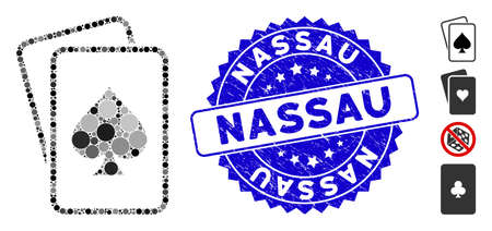 Mosaic spade gambling cards icon and rubber stamp seal with Nassau phrase. Mosaic vector is created with spade gambling cards pictogram and with random spheric spots.