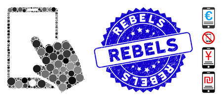 Mosaic touch smartphone icon and grunge stamp watermark with Rebels text. Mosaic vector is designed with touch smartphone icon and with randomized circle spots. Rebels stamp uses blue color,