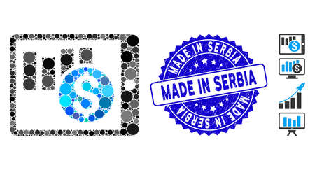 Mosaic sales chart on PDA icon and grunge stamp seal with Made in Serbia caption. Mosaic vector is designed with sales chart on PDA icon and with random round elements.