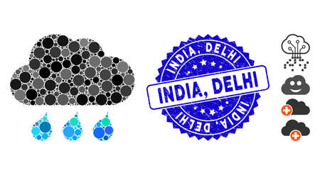 Mosaic rain weather icon and distressed stamp seal with India, Delhi caption. Mosaic vector is created with rain weather icon and with randomized circle elements. India, Delhi seal uses blue color,