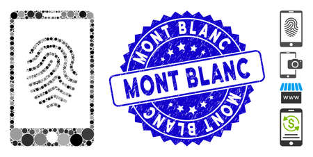 Mosaic smartphone fingerprint icon and rubber stamp seal with Mont Blanc text. Mosaic vector is created with smartphone fingerprint icon and with random circle elements. Ilustração