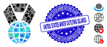 Collage world award icon and rubber stamp seal with United States Minor Outlying Islands caption. Mosaic vector is formed with world award icon and with randomized circle elements.