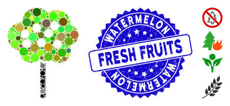 Mosaic tree icon and grunge stamp seal with Watermelon Fresh Fruits text. Mosaic vector is designed with tree pictogram and with randomized spheric items.