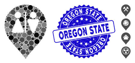 Mosaic toilet map marker icon and rubber stamp seal with Oregon State text. Mosaic vector is formed from toilet map marker icon and with scattered spheric elements. Oregon State stamp uses blue color,