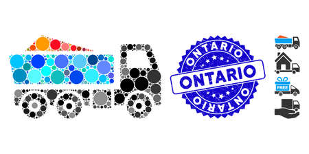 Mosaic tipper icon and rubber stamp seal with Ontario text. Mosaic vector is created with tipper icon and with randomized round items. Ontario stamp uses blue color, and grunge surface. 일러스트