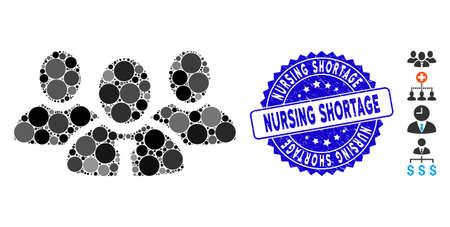Mosaic team manager icon and grunge stamp watermark with Nursing Shortage caption. Mosaic vector is created with team manager icon and with randomized circle elements.