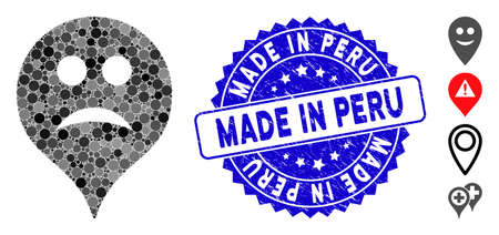 Mosaic sad map marker icon and rubber stamp seal with Made in Peru text. Mosaic vector is designed with sad map marker icon and with randomized spheric items. Made in Peru seal uses blue color,