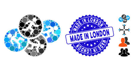 Mosaic running men icon and grunge stamp seal with Made in London phrase. Mosaic vector is composed from running men icon and with randomized spheric spots. Made in London stamp seal uses blue color,