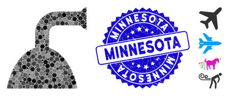 Mosaic shower jet icon and distressed stamp seal with Minnesota phrase. Mosaic vector is formed with shower jet pictogram and with random circle spots. Minnesota stamp seal uses blue color, Ilustrace