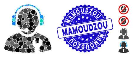 Mosaic service operator icon and grunge stamp watermark with Mamoudzou caption. Mosaic vector is formed with service operator pictogram and with random spheric elements. Ilustrace