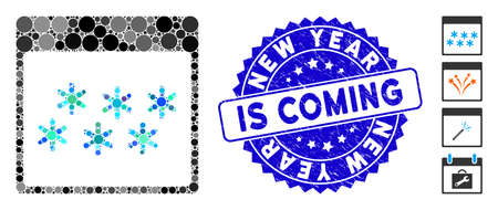 Mosaic snowflakes calendar page icon and rubber stamp seal with New Year Is Coming phrase. Mosaic vector is designed with snowflakes calendar page icon and with scattered circle spots.