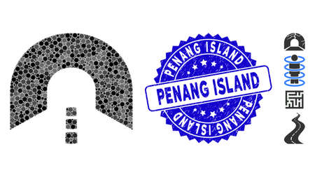Mosaic tunnel icon and rubber stamp watermark with Penang Island phrase. Mosaic vector is designed with tunnel icon and with randomized round items. Penang Island stamp uses blue color, Illusztráció