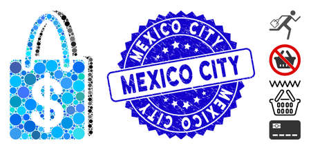Mosaic shopping bag icon and rubber stamp watermark with Mexico City text. Mosaic vector is designed with shopping bag icon and with random spheric items. Mexico City stamp seal uses blue color, Ilustrace