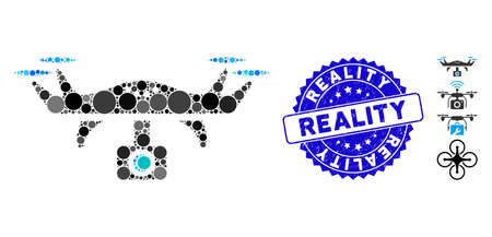 Mosaic video spy copter icon and distressed stamp watermark with Reality text. Mosaic vector is formed with video spy copter icon and with randomized round elements.