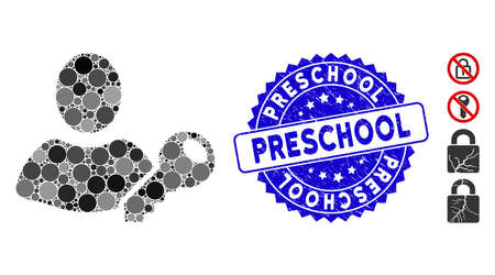 Mosaic user key icon and distressed stamp seal with Preschool caption. Mosaic vector is composed with user key icon and with randomized round spots. Preschool stamp seal uses blue color,