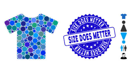Mosaic T-shirt icon and rubber stamp watermark with Size Does Metter phrase. Mosaic vector is created with T-shirt icon and with randomized circle spots. Size Does Metter stamp seal uses blue color, Ilustrace