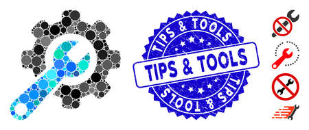 Mosaic tools icon and grunge stamp seal with Tips & Tools text. Mosaic vector is composed with tools icon and with random circle spots. Tips & Tools stamp seal uses blue color, and grunged surface.