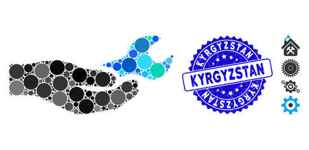 Mosaic repair service icon and rubber stamp watermark with Kyrgyzstan caption. Mosaic vector is composed with repair service icon and with randomized round items. Kyrgyzstan stamp uses blue color,
