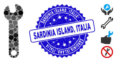 Mosaic wrench icon and rubber stamp seal with Sardinia Island, Italia text. Mosaic vector is composed from wrench icon and with randomized spheric spots. Sardinia Island, Italia stamp uses blue color,