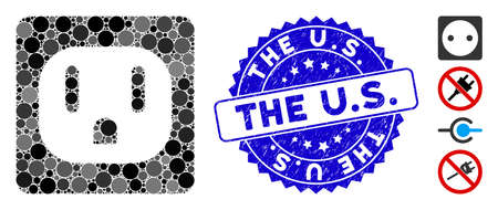 Mosaic USA electric socket icon and corroded stamp watermark with The U.S. phrase. Mosaic vector is composed with USA electric socket icon and with random round elements. The U.S.