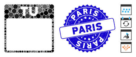 Mosaic Tuesday calendar page icon and rubber stamp seal with Paris caption. Mosaic vector is created with Tuesday calendar page icon and with randomized spheric elements. Ilustrace