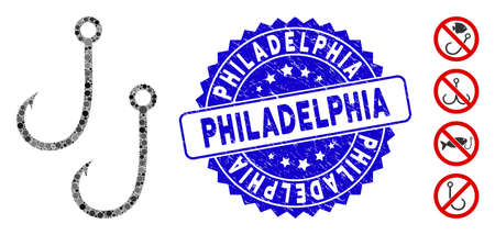 Mosaic two fishing hooks icon and corroded stamp seal with Philadelphia text. Mosaic vector is composed with two fishing hooks icon and with scattered round items. Philadelphia stamp uses blue color,
