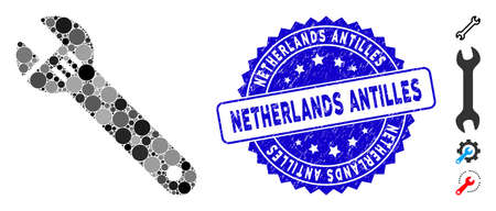 Mosaic spanner icon and rubber stamp seal with Netherlands Antilles caption. Mosaic vector is designed with spanner icon and with random round elements. Netherlands Antilles stamp uses blue color,