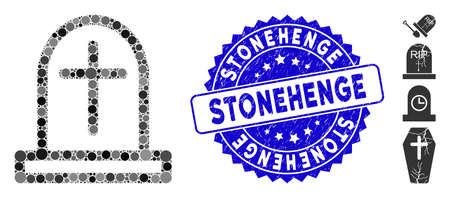 Mosaic tombstone icon and rubber stamp watermark with Stonehenge phrase. Mosaic vector is formed with tombstone icon and with randomized round spots. Stonehenge stamp uses blue color,