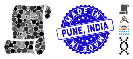 Collage script icon and grunge stamp seal with Made in Pune, India phrase. Mosaic vector is created with script icon and with random spheric elements. Made in Pune, India stamp seal uses blue color,