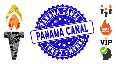 Mosaic torch icon and corroded stamp seal with Panama Canal caption. Mosaic vector is composed with torch pictogram and with randomized spheric items. Panama Canal stamp seal uses blue color,