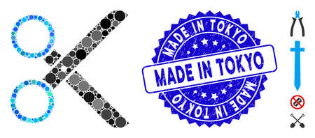 Mosaic scissors icon and corroded stamp seal with Made in Tokyo phrase. Mosaic vector is designed with scissors icon and with randomized circle items. Made in Tokyo stamp seal uses blue color,
