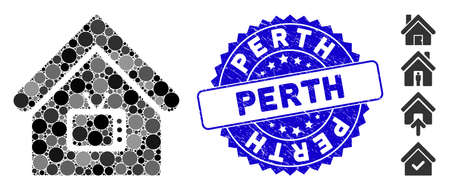 Mosaic TV office icon and distressed stamp seal with Perth caption. Mosaic vector is created with TV office pictogram and with random circle spots. Perth stamp seal uses blue color,