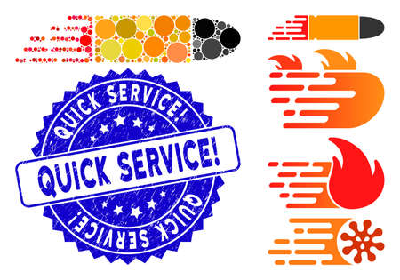 Mosaic rush bullet icon and distressed stamp seal with Quick Service! phrase. Mosaic vector is composed with rush bullet icon and with randomized round items. Quick Service! seal uses blue color,