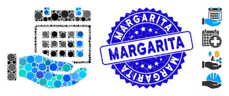 Mosaic service timetable icon and rubber stamp watermark with Margarita phrase. Mosaic vector is formed with service timetable icon and with random circle items. Margarita stamp seal uses blue color, Ilustrace
