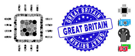 Mosaic processor icon and grunge stamp seal with Great Britain caption. Mosaic vector is formed with processor icon and with scattered round items. Great Britain stamp seal uses blue color,