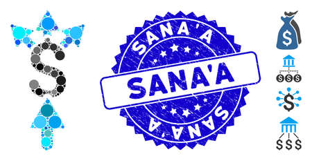 Mosaic share payment icon and distressed stamp seal with SanaA phrase. Mosaic vector is created with share payment pictogram and with scattered spheric items. SanaA stamp seal uses blue color,