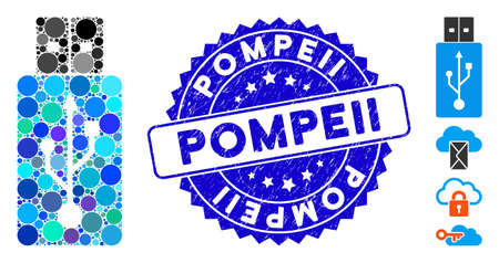 Collage USB flash drive icon and rubber stamp seal with Pompeii text. Mosaic vector is formed with USB flash drive icon and with scattered circle spots. Pompeii stamp seal uses blue color, Vettoriali